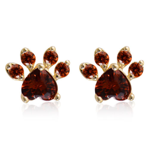 Lovely Cat Paw White//Pink//Red Rhinestone Claw Print Dog Paw Ear Stud Earrings