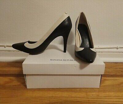 Banana Republic Black White Two Tone Leather Heels Pumps Shoes Size 9M | eBay