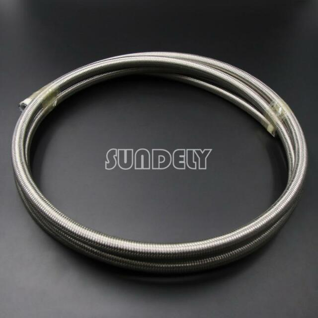 8mm Stainless Steel Braided PTFE Teflon Fuel Hose Line Oil Petrol - 3meter