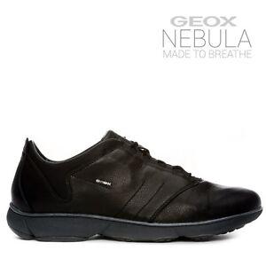 GEOX Uomo Sneaker NEBULA A stringata NERO pelle martellata U52D7A 00046 C9999