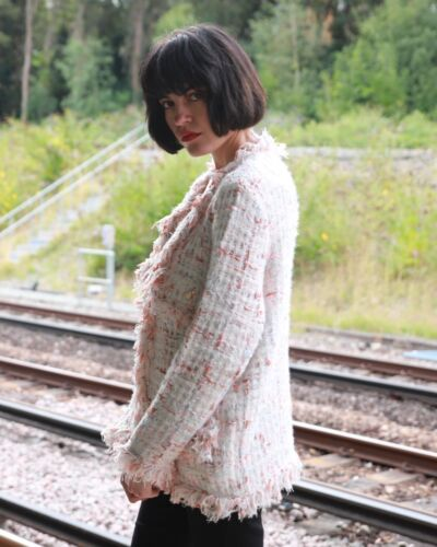 White pink black pink color tweed effect classic knit Long cardigan Jacket