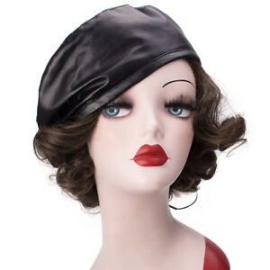 4c41e6ee6c144 Womens Faux Leather Beret Beanie Skull Cap Army Military Hat Fashion ...