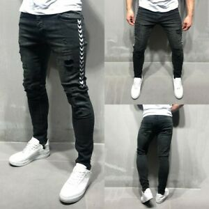 Mens-Skinny-Slim-Fit-Pants-Ripped-Distressed-Black-Jeans-Frayed-Joggers-Trousers