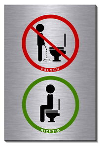 toilettenschild bitte setzen alu edelst optik schild 15x10cm toilette wc bad ebay. Black Bedroom Furniture Sets. Home Design Ideas