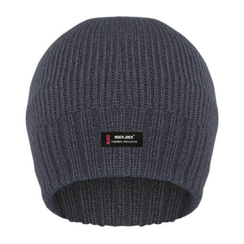 Mens Plain Thermal Lined Beanie Hats By Rock Jock One Size Different Colours UK