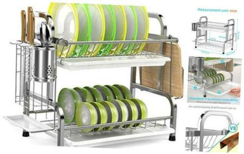 Dish Drying Rack iSPECLE 304 Stainless Steel 2-Tier Dish Rack with Utensil Hold