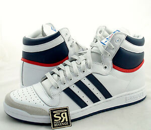 New Adidas Originals Mens Top Ten Hi Shoes White Navy Red