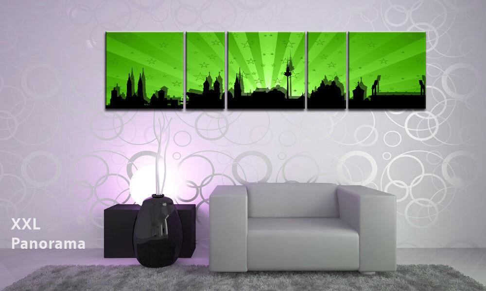 Nuremberg retro verde panorama 5 marcos imágenes p500185 XXL lienzo marcos 5 de cuña ciudades bdd575