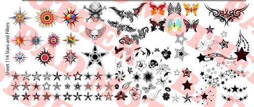 1//6 Scale Custom Tattoos Waterslide Decals Stars and Fillers Variety Pack