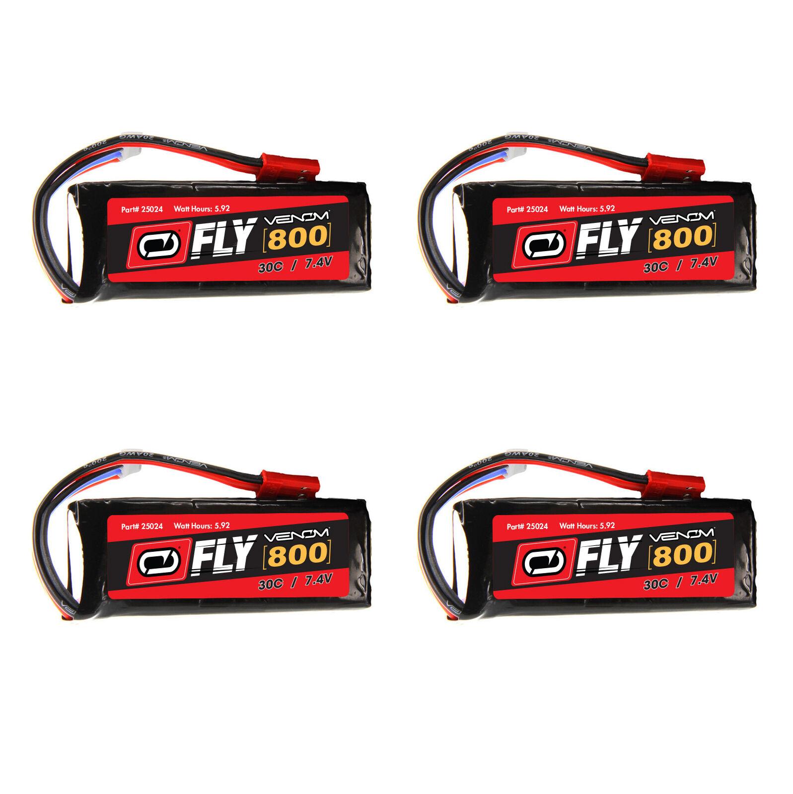 Venom volar 30C 2S 800mAh 7.4V batería LiPo con paquetes de Enchufe x4 JST