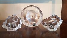 Swedish glass Mats Jonasson Trio Bear Cub, ELF, Rennes