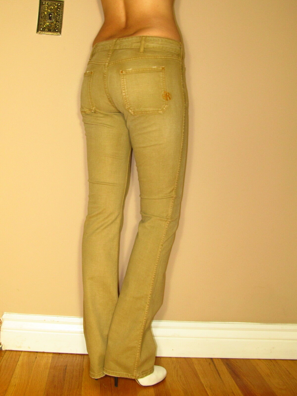 Rich&Skinny  178 Swabby Jeans Khaki Sand Beige Distressed Bootcut Button Fly 25