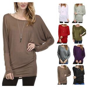 USA-Women-Dolman-Batwing-Long-Sleeve-Tunic-Top-Casual-Boat-Neck-T-Shirts-Plus