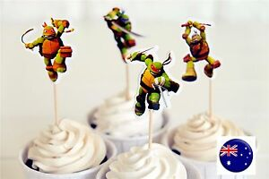 24P-TMNT-Turtle-birthday-boy-Party-Cupcake-Cakes-Decorating-Toppers-Picks-Flags