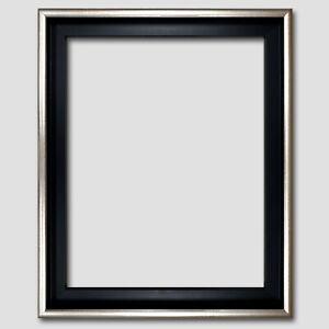 Schattenfugenrahmen-fuer-Leinwandbild-50x60-Silber-Schwarz-Gold-Holz-Bilderrahmen