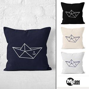 kissenbezug origami schiffchen schiff anker seemann 40x40 baumwolle moonworks ebay. Black Bedroom Furniture Sets. Home Design Ideas