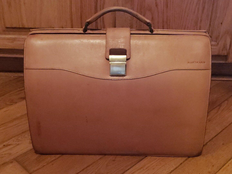 HARTMANN American Tan Belting Leather Lawyer Diplomat Briefcase Attache Bag 1