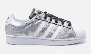 Details zu Adidas Superstar Damen Sneaker Leder Freizeit Schuhe Turnschuhe  silber glitzernd
