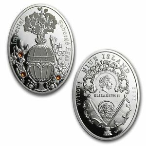 Niue Island 2012 1$ Winter Egg Imperial Faberge Egg series silver coin