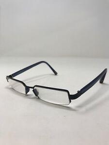 4f0e39e339a6 Jhane Barnes Eyeglass Frames Vertex Navy 52-17-135 Half Rim QZ62