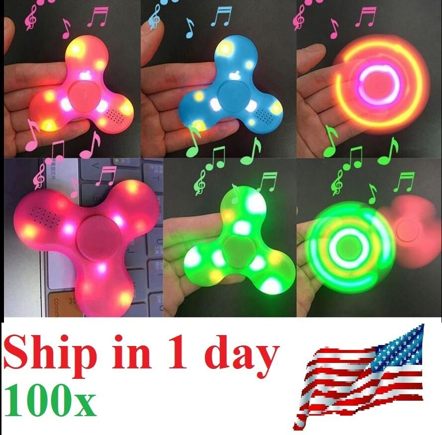 100x Blautooth Speaker LED Fidget Spinner Hand Spinner Pair Phone Plays Music 1