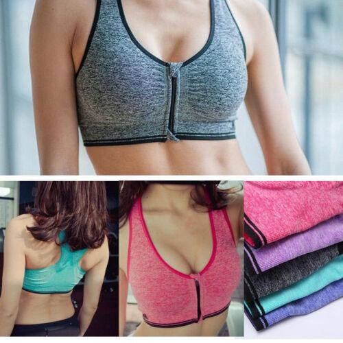 UK Women/'s Ladies Front Zip Sports Bra Push Up High Impact Wireless Padded Vest