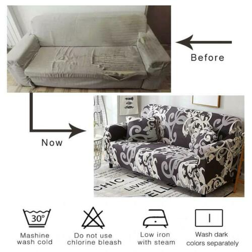 White Floral Pattern Sofa Couch Cover Slipcover Details about  /Purple