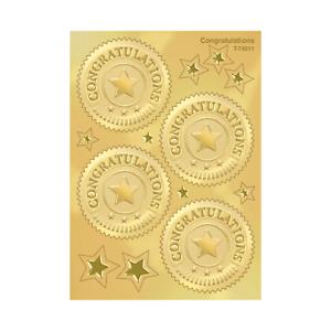 Embossed Gold Certificate Stickers (Congratulations) - School Teacher Rewards
