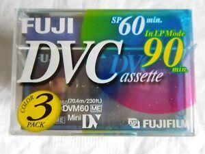 Mini DV FUJI - lot de 3 mini cassettes, durée de 60 à 90 minutes neuves