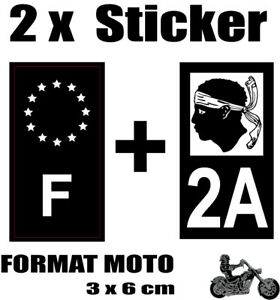 2 Stickers Style Plaque Moto 3x6 Cm Noir F étoiles Blanches + Département 2a