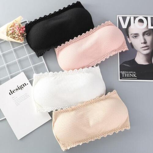 Women Bandeau Wrapped Chest Tube Bra Underwear Strapless Lace Solid Soft Bra UJG