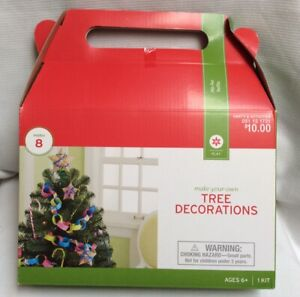 Kid S Christmas Craft Kit Make Your Own 8 Tree Decorations Stickers Yarn Ebay