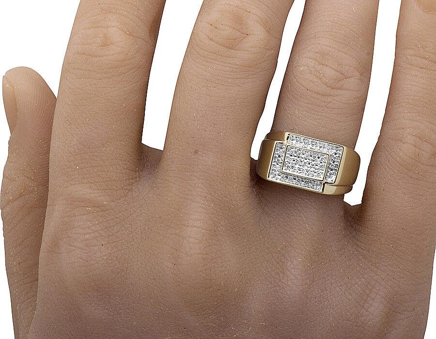 Uomo 10k oro Giallo Quadrato Diamante Vero Vero Vero Anello Fidanzamento Matrimonio 9a728d