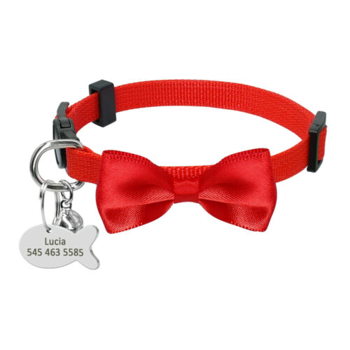 Cute Safety Personalized Cat Collar Breakaway Kitten Bow Tie Collar with Bell