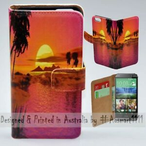 For-HTC-Series-Mobile-Phone-Summer-Sunset-Theme-Print-Wallet-Phone-Case-Cover