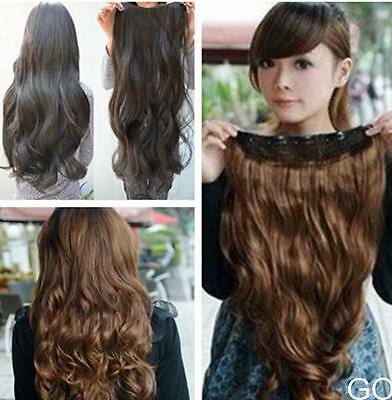 GO US One Piece Clip in Synthetic Hair Extensions Long Wavy Curly Hair 5 Clips