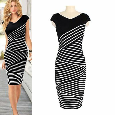 Elegant Women Pinup Striped Bodycon Party Sheath Casual Business Pencil Dress