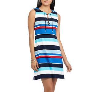 26ce269d2e9 Chaps Womens Sailor Bay blue Multi Striped Lace Up cotton Dress ...