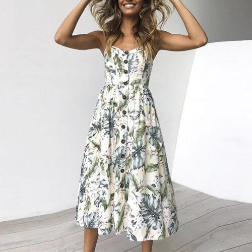 Womens Ladies Summer Beach Midi Dress Boho Holiday Strappy Button Sun Dresses