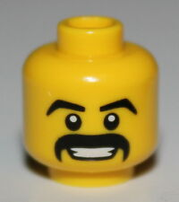 LeGo Yellow Minifig Head Moustache Black Thick Grin w/ Teeth White Pupils