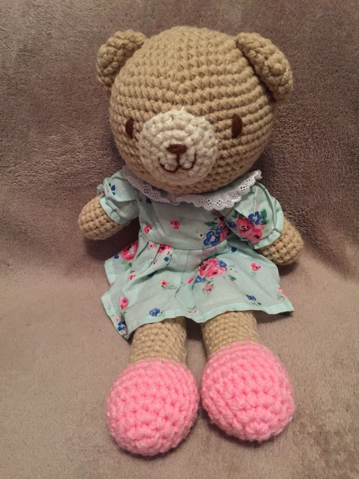 Cath Kids Kidston Crochet Knitted Teddy Bear Floral Dress Soft Toy 38cm