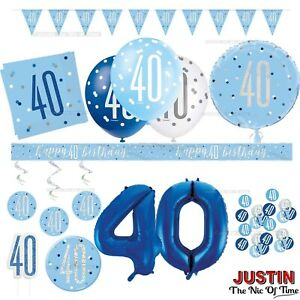 Blue 40th Birthday Party Decorations Supplies Boy Mens Balloons Banners Etc Ebay
