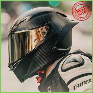 Full-Face-Carbon-Fiber-Motorcycle-Helmet-Racing-Large-Medium-Small-Black-Protect