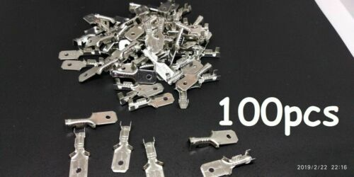 100 x pcs 6.3mm Male Blade Terminal Crimp Connector Electrical Wire Cable UK