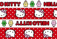 Hello Kitty Gingerbread Stripe Fabric - Red