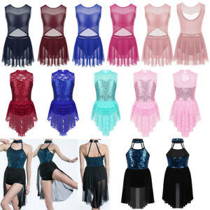 Girls-Ballet-Dance-Dress-Kids-Lyrical-Latin-Leotard-Tutu-Skirt-Sequins-Dancewear