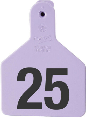 """Z-TAG CALF TAG SHORT NECK 2-3//8/"""" W x 3-1//4/"""" H Hot-Stamped  #1-25 PURPLE 25ct"""