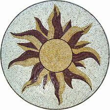 "40"" Handmade Art Tile Stone Sun Medallion Floor Tabletop Decor Marble Mosaic"