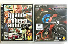 PS3 SONY PLAYSTATION 3 GRAND THEFT AUTO IV & GRAN TURISMO 5 TWO RACING GAMES LOT