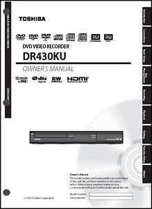 toshiba dvd recorder dr430 owners manual